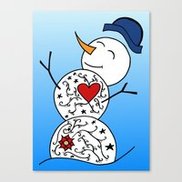 snowman Canvas Prints featuring Snowman  by #dancingpenguin