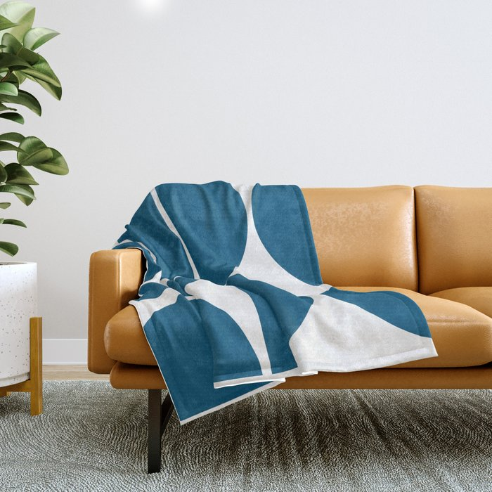 Mid Century Modern Blue Square Throw Blanket
