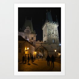 On the Charles Bridge at Night Art Print