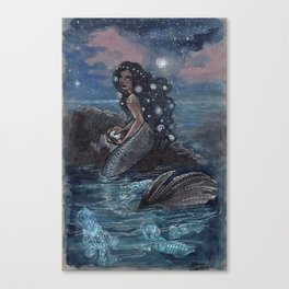 Evening Glow Mermaid and Firefly Squid Canvas Print
