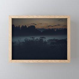 [34] Fog in the evening forest, nature, travel, night Framed Mini Art Print