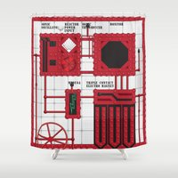 rocky horror Shower Curtains featuring Rocky Horror Control Panel by Shawn Hall Design