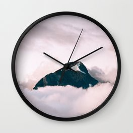 Mountain Top Poking Through The Clouds Wall Clock