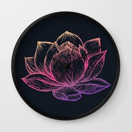 Rainbow Sunset Lotus on Black Wall Clock