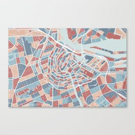 Amsterdam map, the Netherlands Canvas Print