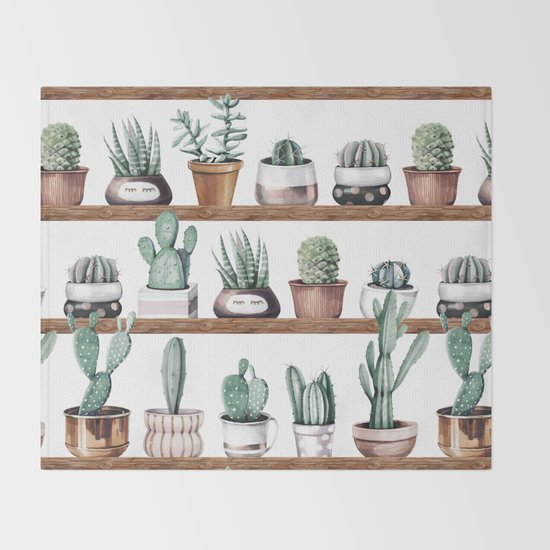Cactus Shelf Rose Gold Green Throw Blanket by Nature