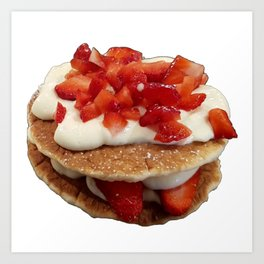 pancakes_strawberries_and_whip_cream Art Print