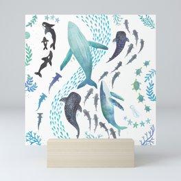 Sharks, Humpback Whales, Orcas & Turtles Ocean Play Print Mini Art Print