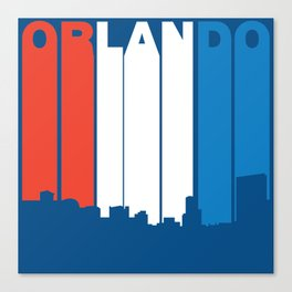 Red White And Blue Orlando Florida Skyline Canvas Print