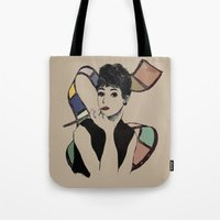 hepburn Tote Bags featuring hepburn by Jessica Brophy