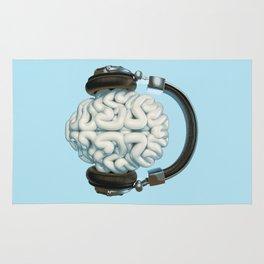 Mind Music Connection /3D render of human brain wearing headphones Rug