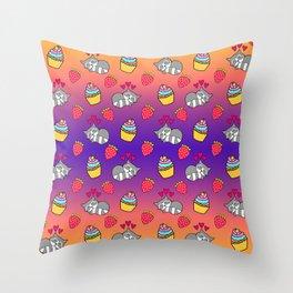 Cute happy sleeping dreaming Kawaii baby raccoon, sweet red summer strawberries and colorful rainbow yummy cupcakes sunny bright orange and purple design. Nursery decor. Throw Pillow