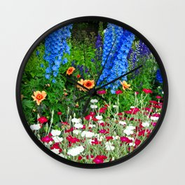 Blue Delphiniums Summer Flowers Wall Clock
