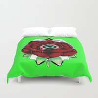 all seeing eye Duvet Covers featuring All Seeing Eye by Swank