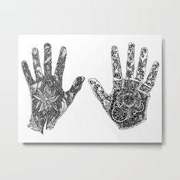 Hands of Contrast Metal Print