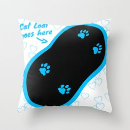 Cat Loaf Goes here (Blue) Throw Pillow