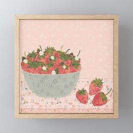 Sweet & Juicy Bowl of Strawberries Framed Mini Art Print