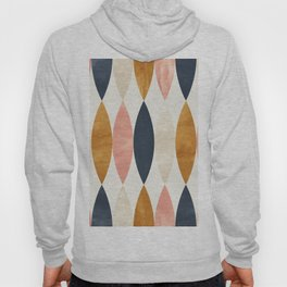 Colorful Pastel Geometric Scale Pattern Pink Navy Gold Art Deco Hoody