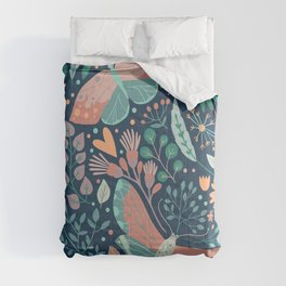 Whimsical Butterfly Art, Cute Pink and Teal Garden Floral Prints Comforters
