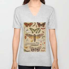 Popular History of Animals Butterfly Vintage Scientific Illustration Educational Diagrams Unisex V-Neck