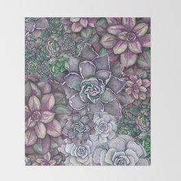 Scattered Succulents Throw Blanket