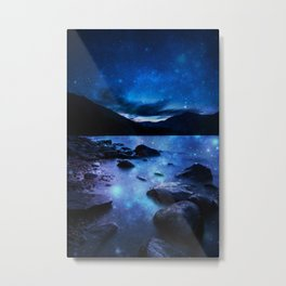 Magical Mountain Lake Dark Blue Metal Print