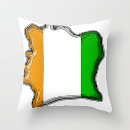 Ivory Coast Cote d'Ivoire Map with Flag Throw Pillow