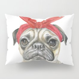 Pug with a Red Bandana Watercolor Pillow Sham