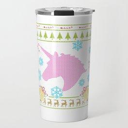 Unicorn Christmas Ugly Sweater Design Shirt Travel Mug