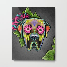 Mastiff in Fawn - Day of the Dead Sugar Skull Dog Metal Print