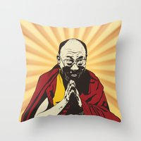 lama Throw Pillows featuring Dalai Lama by ArDem