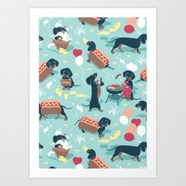Hot dogs and lemonade // aqua background navy dachshunds Art Print