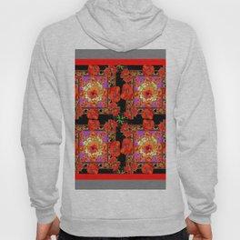 GREY & BLACK ART RED DECO ORANGE-RED POPPIES Hoody