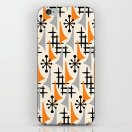 Mid Century Modern Atomic Wing Composition Orange & Gray iPhone Skin