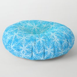 Snowflakes pattern on blue background Floor Pillow