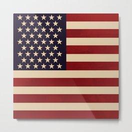 American Flag Vintage Americana Red Navy Blue Beige Metal Print