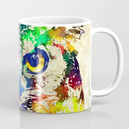 Owl Watercolor Grunge Coffee Mug