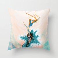 aang Throw Pillows featuring Katara and Aang by Imogen Scoppie
