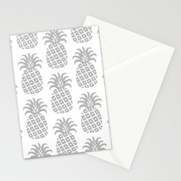 Retro Mid Century Modern Pineapple Pattern Gray Stationery Cards