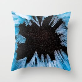 Ice Cave // Starry Night Sky Long Exposure Beautiful Blue Crystal Icicle Throw Pillow