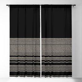 Organic Stripes - Minimalist Textured Line Pattern in Almond Cream and Black Blackout Curtain