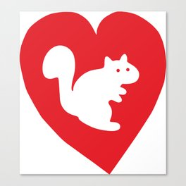 White Squirrel red heart Canvas Print