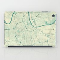 nashville iPad Cases featuring Nashville Map Blue Vintage by City Art Posters
