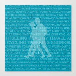 Healthy Trekking Teal Typography Logo Travel Design Canvas Print