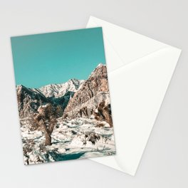 Vintage Cactus Snow & Mountains // Desert Landscape Photograph in the Mojave at Winter Red Rocks Stationery Cards