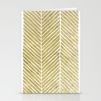 gold foil Stationery Cards featuring Gold Foil Chevron by Berty Bob