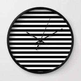 Stripes - Black + White Wall Clock