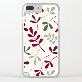 Assorted Leaf Silhouettes Reds Greens Cream Clear iPhone Case