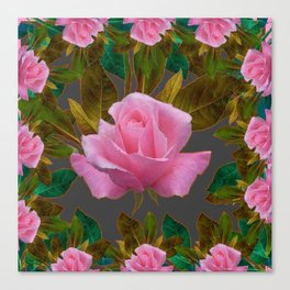 LEAFY PINK ROSE GARDEN & GREY PATTERNS ART Canvas Print