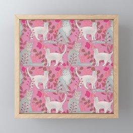 Pink Nature Cats Framed Mini Art Print
